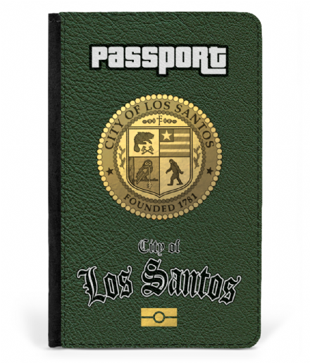 City of Los Santos Faux Leather Passport Cover Protector Based on Grand Theft Auto